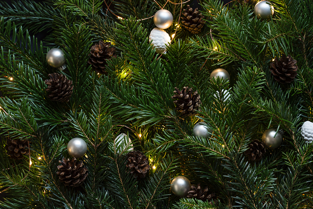 baubles and pine cones on garland