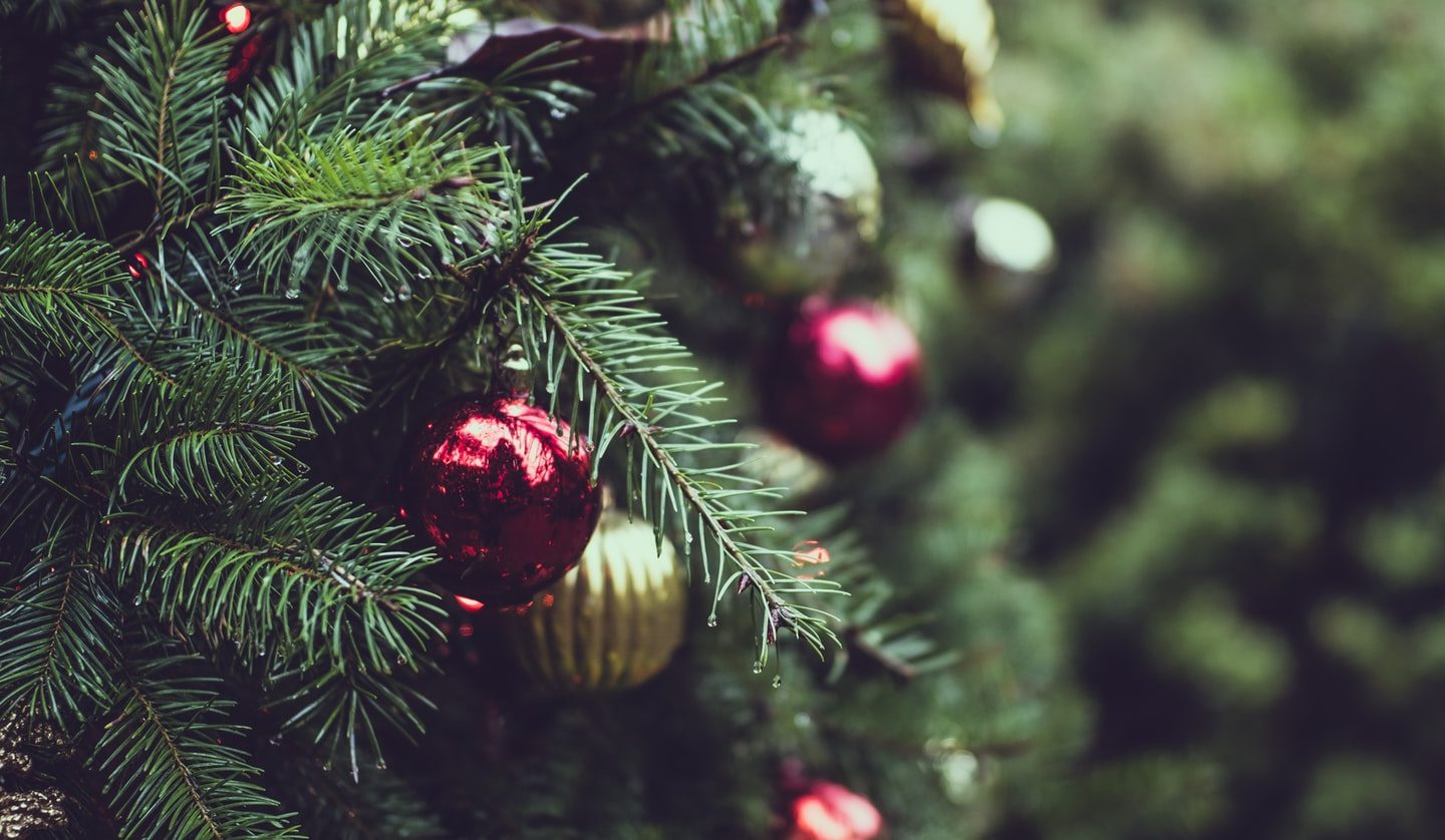 close-up photo of Christmas tree with baubles