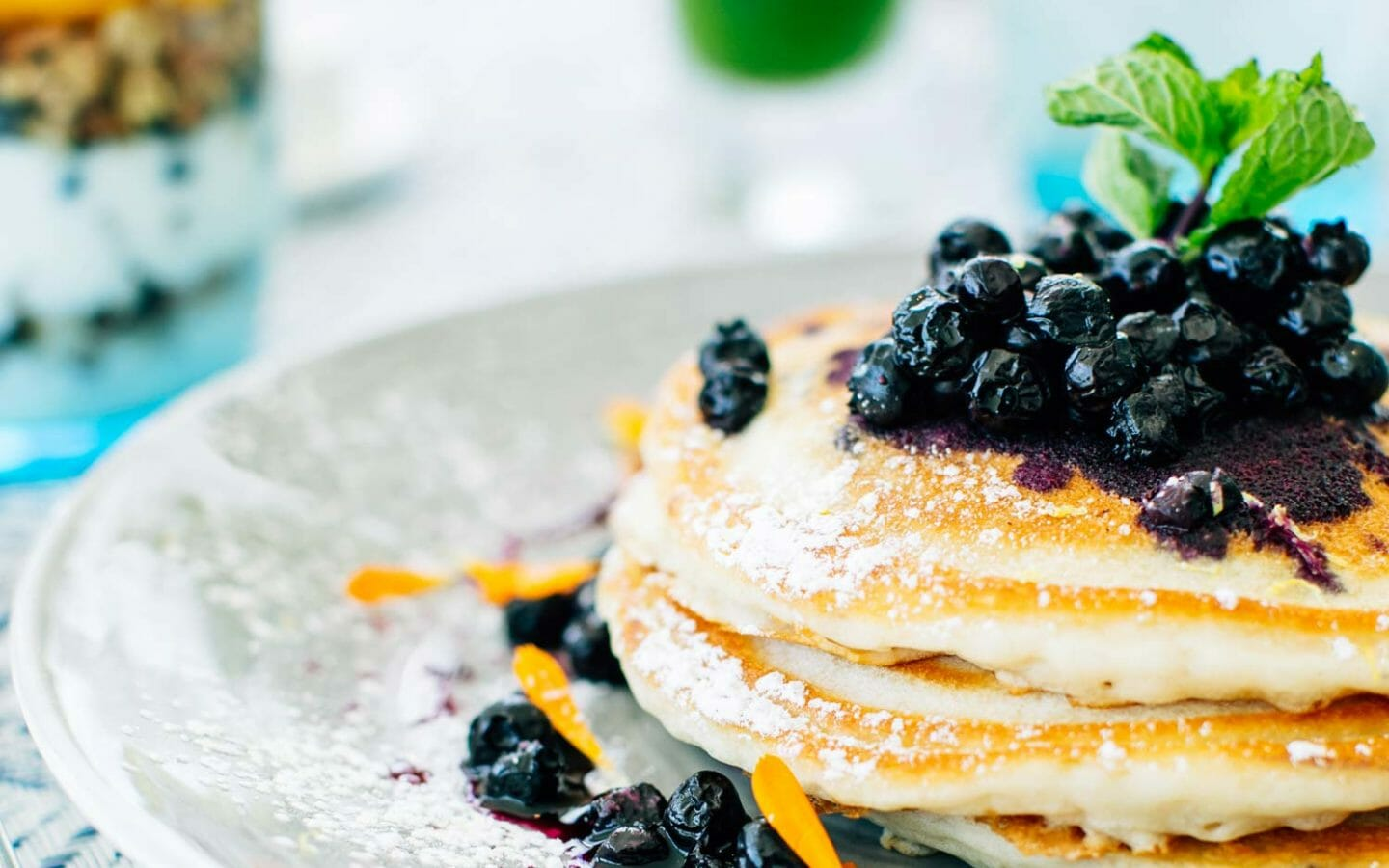 plate of pancake with blueberries