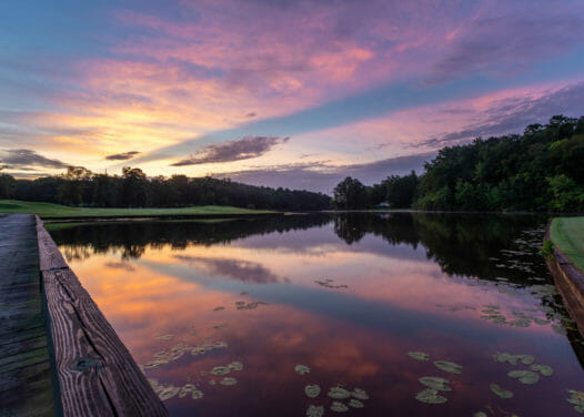 wooden bridge beside a pond at sunset