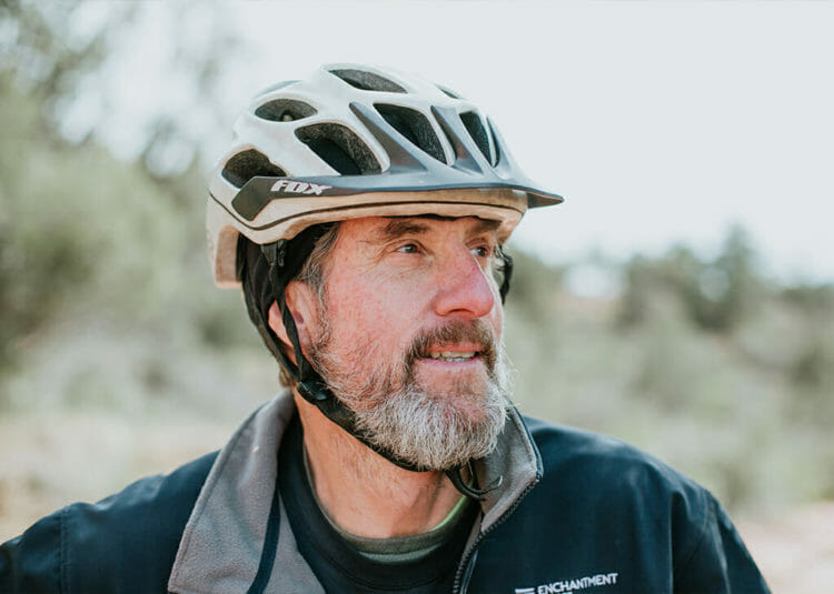Man in helmet geared up to Ride the Red Rocks